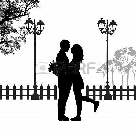Romantic couple silhouette embrace in love on beautiful landscape, vector illustration  Stock Photo - 21313943