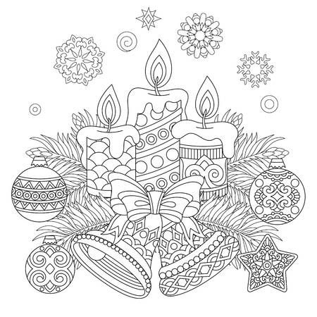 Christmas Coloring Page With Holiday Decorations Vector Illustration Christmas Coloring Books Christmas Coloring Pages Christmas Coloring Cards