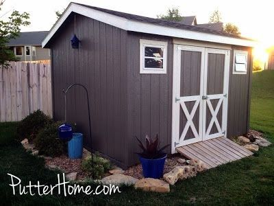 Favorite Paint Colors Porpoise And Rice Grain 30 Garden Shed Ideas Photos From Among The Best Garden S In 2020 Shed Paint Colours Painted Garden Sheds Backyard Sheds