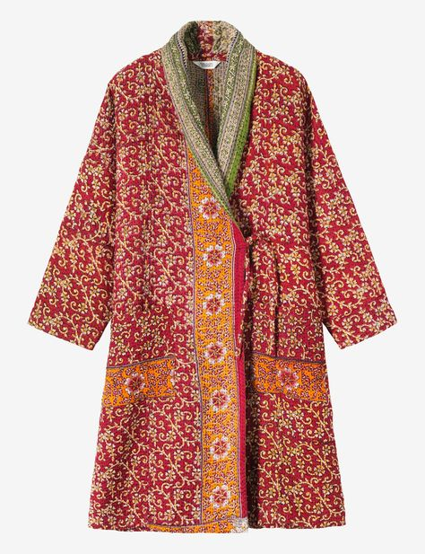 Unstructured kantha embroidered coat made from recycled saris by an Indian cooperative. Dropped shoulder, easy, long sleeves. Fastens with a fixed tie to one side. Two patch pockets. Being made from recycled saris, no two are the same.
