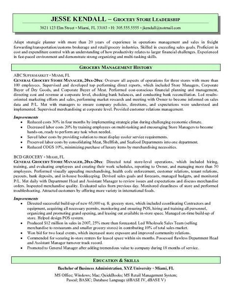 Grocery Store Resume Sample - Grocery Store Resume Sample will - retail operations manager resume