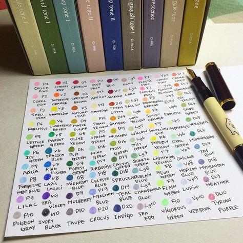 鄧小熊 on instagram tambow 出的irojiten這套色辭典色鉛筆一直在購物清單上面好久了 今年省下變換髮型的經費拿來購入這套90色的油性色鉛筆 每一支筆除了編號外都有屬於自己獨特的名字 試寫一輪做成色卡 自己最喜歡的是p paint designs tombow color chart