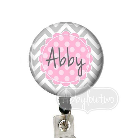 Retractable ID Badge Holder - Badge Reel - Name Badge Dots Personalized with Your Initials Chevron via Etsy