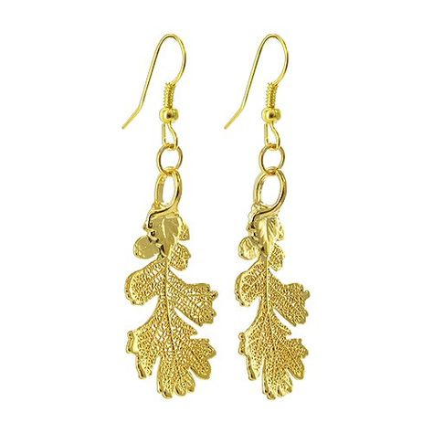 Gem Avenue 24k Yellow Gold Plated Over Real Lacy Oak Leaf French Wire Dangle Earrings Be Sure To Check Out This Awesome Product