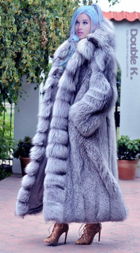 New platinum fox long fur coat hood class- chinchilla sable jacket mink silver