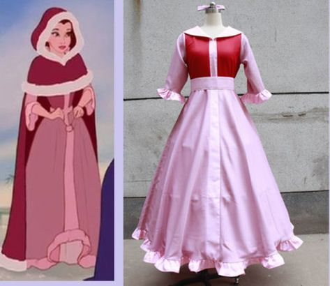 Beauty and The Beast Belle Pink cosplay costume Custom Size Halloween