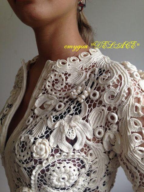 irish lace Little Treasures: What I Have Pinned Lately Col Crochet, Cardigan Au Crochet, Irish Crochet Patterns, Russian Crochet, Lace Sweater, Freeform Crochet, Lace Patterns, Filet Crochet, Crochet Russe