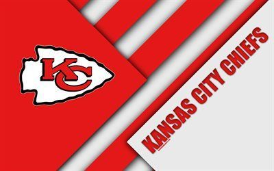 Download Wallpapers Kansas City Chiefs Afc West 4k Logo Nfl Red White Abstraction Material Design Ameri In 2020 Kansas City Chiefs American Football Kansas City