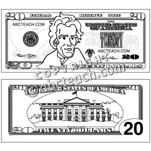 Clip Art Twenty Dollar Bill Outline Coloring Page Preview 1