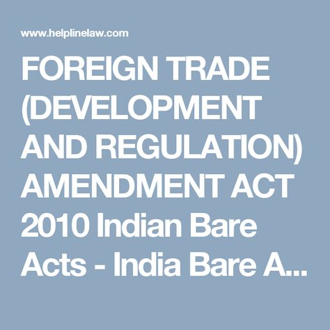 Foreign Trade Development And Regulation Amendment Act 2010
