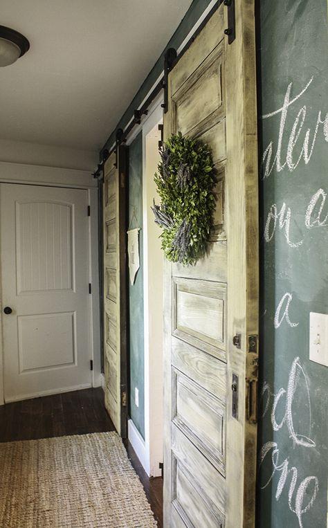 One Room Challenge Farmhouse Laundry Room Reveal Wood Barn Door Barn Door Bleached Wood