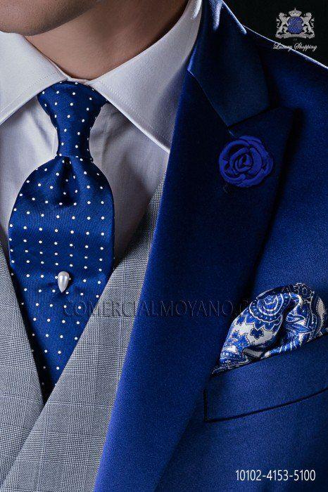 Cravate italienne bleu royal avec pois blanc Ottavio Nuccio