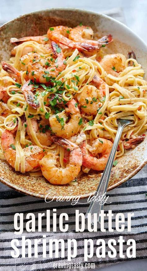 Garlic Butter Shrimp Pasta - Craving Tasty This garlic butter shrimp pasta dish is a flavor galore. Pan-seared butter garlic shrimp, mixed in with delicious fettuccine pasta flavored with chicken broth, white wine, and Worcestershire sauce. Garlic Butter Shrimp Pasta, Shrimp Pasta Dishes, Creamy Shrimp Pasta, Fettuccine Pasta, Spicy Garlic Shrimp, Pasta With Seafood, Garlic Sauce For Pasta, Shrimp Scampi Recipe Easy Without Wine, Sheimp Pasta