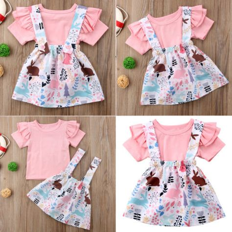 US Infant Newborn Baby Girl T-shirt Dress Outfit Clothes Toddler Casual Dresses