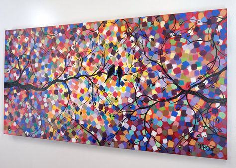 48 Large Abstract Love Birds Heart Tree By Jmichaelpaintings Bedroom