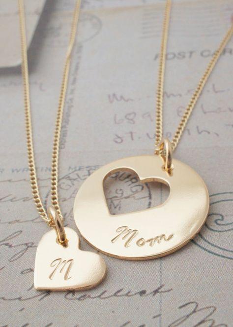 Joyería regalos de la madre para mamá e hija lleno, personalizada madre hija joyas - Set de collar personalizado corazón en oro de 14K