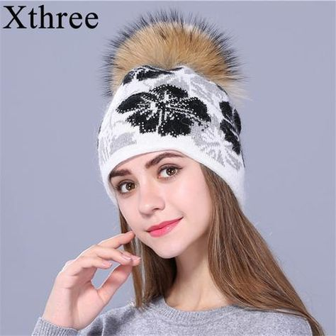 30102b28ed21db [Xthree]real Raccoon fur pom poms knitted beanie winter hat for women and girl  hat thick female Rabbit fur wool cap