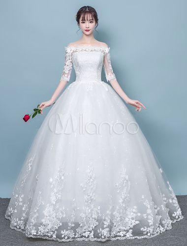 Vestidos De Noiva De Renda Marfim Meia Manga Fora Do Ombro