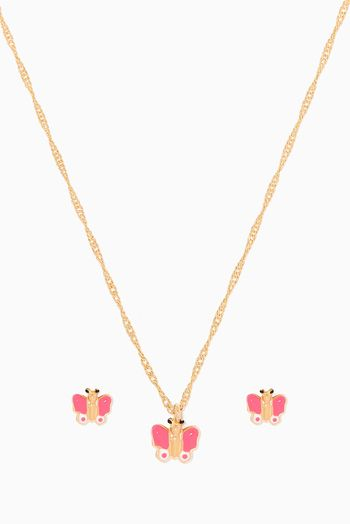 بيبي فتيحي طقم ذهب بتصميم فراشة بمينا اسعار ماركات عالمية فخمة راقية Gold Gold Necklace Jewelry