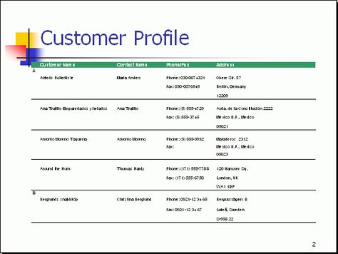 customer profile- lists information about the target marketing - customer profile