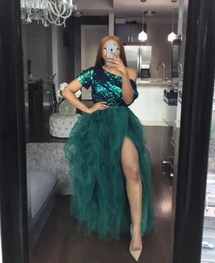 Eightree African Sequined Prom Dresses Plus Size One Shoulder Short Sleeves Formal Evening Dress Side Split Tulle Party Dress