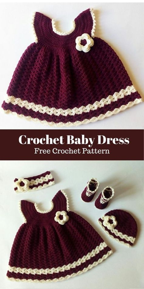 You can make this baby dress in just one day. I've added the complete baby outfit (baby dress, headband, hat and sho. Crochet Baby Dress Free Pattern, Baby Girl Dress Patterns, Baby Girl Crochet, Crochet Baby Clothes, Crochet For Kids, Baby Patterns, Free Crochet, Crochet Baby Dresses, Crochet Outfits For Babies