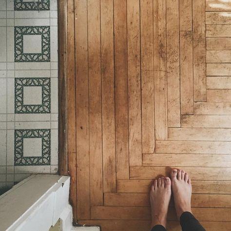 New Ideas Old Wood House Interior Hardwood Floors Wood Floor Design, Wood Floor Pattern, Floor Patterns, Tile Patterns, Kitchen Flooring, Farmhouse Flooring, Bathroom Flooring, House In The Woods, Hardwood Floors