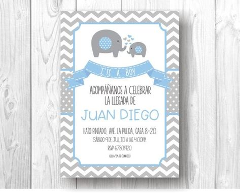 Digital invitation for Baby Shower with elephant theme, color can be customized (pink, blue, mint, yellow), perfect to be shared by social networks (Whatsapp, Instagram, Facebook) Please be clear that this purchase is a digital archive, sent by email. No physical product will be