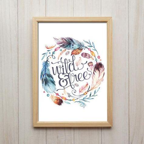 Wild And Free Spruch Bild Boho Dekoration Feder Poster Traumfanger