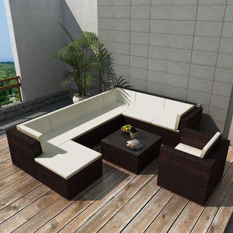 Garten Sofagarnitur Poly Rattan Braun Gartensofa Garten Lounge
