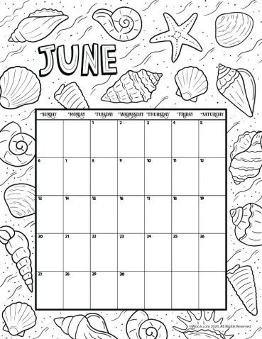 Calendar Page June 2021 June 2021 Printable Calendar Page | Woo! Jr. Kids Activities