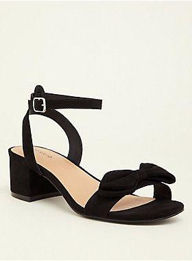 Black Faux Suede Bow Sandal (Wide Width