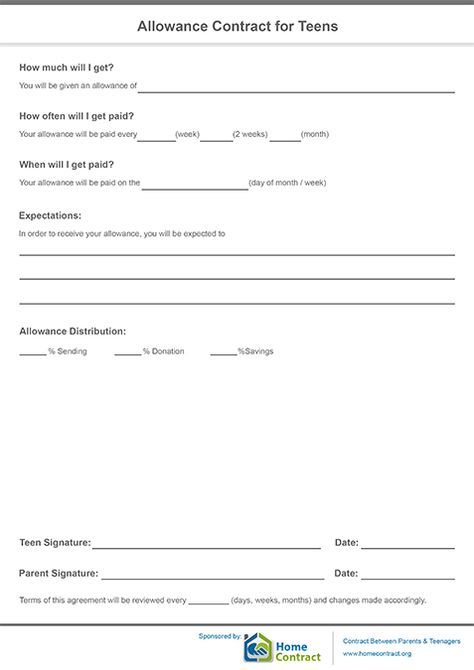Allowance Contract for Teens Allowance Contract Pinterest Teen - casual employment agreement