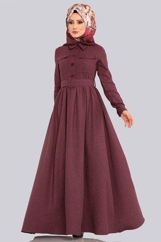 Kemerli Kislik Elbise 8397d170 Bordo Muslimah Fashion Outfits Modest Dresses Clothes For Women