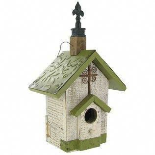 Green White Wood Hanging Birdhouse