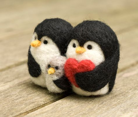 Needle Felted Penguin Family of Three by scratchcraft on Etsy
