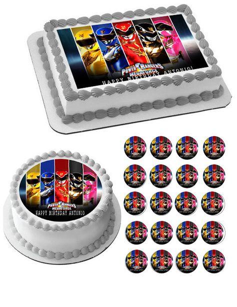Outstanding Power Rangers Megaforce Edible Birthday Cake Topper Or Cupcake Funny Birthday Cards Online Inifodamsfinfo