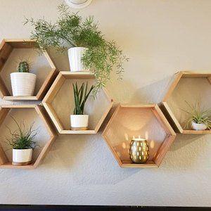 Set Of 6 Medium 2 Deep Hexagon Shelves Honeycomb Shelves