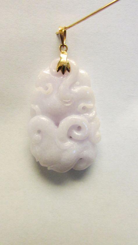 Vintage Estate 14KT Lavender Carved Jade by Alohamemorabilia,