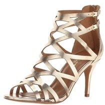 Report Womens Kareena Open Toe Special Occasion Strappy Sandals, Gold, Size  7.5.