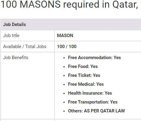 Mason Jobs In Qatar 2019 Jobs In Pakistan Job Overseas Jobs