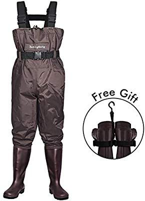 Dark Lightning Fly Fishing Waders For Men And Women With Boots Mens Womens High Chest Wader With Boot Hanger Brown M9 W1 Fishing Boots Fishing Waders Waders
