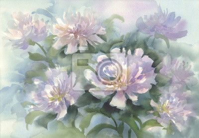 Bouquet Of Pink Peonies Watercolor Na Obrazach Myloview Najlepszej Jakosci Fototapety Naklejki Obrazy Plakaty Tapety Chce Pink Peonies Peonies Watercolor
