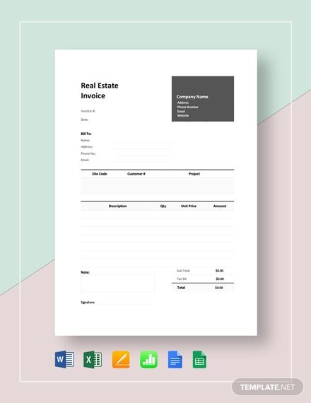 Real Estate Invoice Template Free Pdf Google Docs Google Sheets Excel Word Template Net Invoice Template Company Letterhead Template Letterhead Template