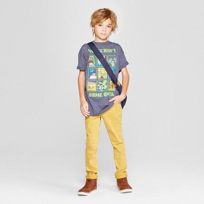 3c226404 Boys' Minecraft Short Sleeve Graphic T-Shirt - Denim Heather XL, Blue