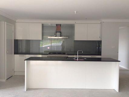 White Kitchen Black Benchtop kitchen - black caesar stone bench top. silver sparkle glass