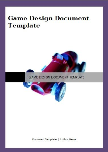 Game Design Document Template 2 Printable Word And Pdf Formats
