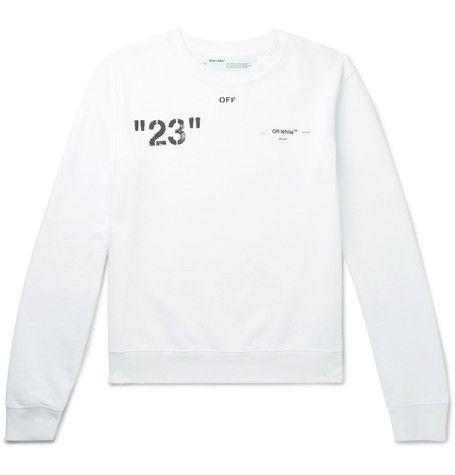 Off White Logo Print Loopback Cotton Jersey Sweatshirt In White