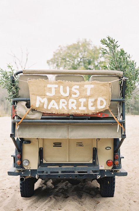 """""""just married"""" Jeep, photo by Feather and Stone http://ruffledblog.com/south-african-destination-elopement #wedding #signs #signage"""