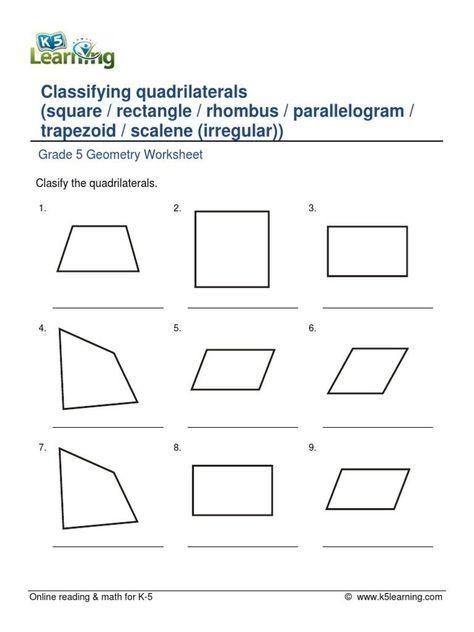 Quadrilaterals Worksheets 5th Grade Grade 5 Geometry Classifying Quadrilaterals B Pdf Geometry Worksheets Quadrilaterals Worksheet Math Worksheets 5th grade geometry worksheets with